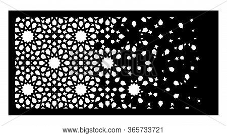 Arabic Cnc Laser Pattern. Decorative Vector Panel For Cnc Cutting. Arabic Template For Interior Part