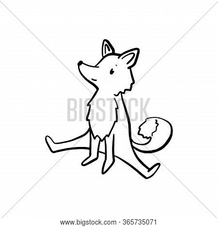 Cute Fox Making Yoga Stretch, Black Line Vector Character Isolated. Lovely Forest Animal Anthropomor