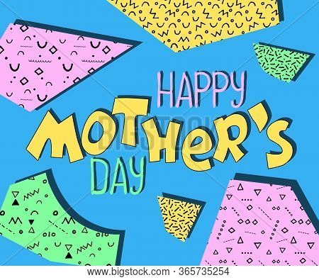 Happy Mother's Day Colorful Banner With Lettering And Color Blocks. Playful Greeting Card For Day Of