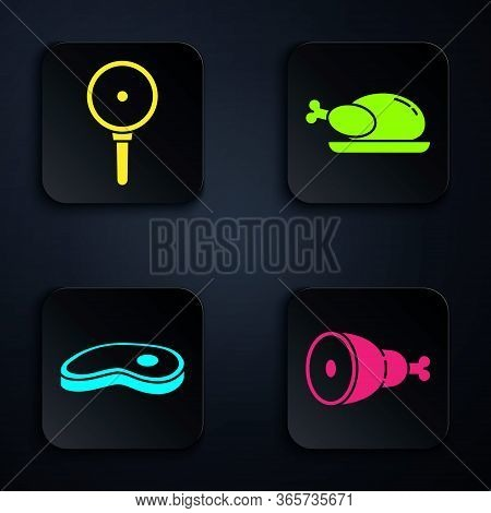 Set Chicken Leg, Frying Pan, Steak Meat And Roasted Turkey Or Chicken. Black Square Button