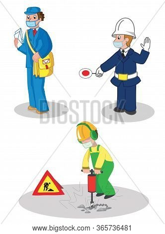 Postman, Warden And Building Contractor, People Woth Protection Masks. Set Of Illustrated Jobs, Vect
