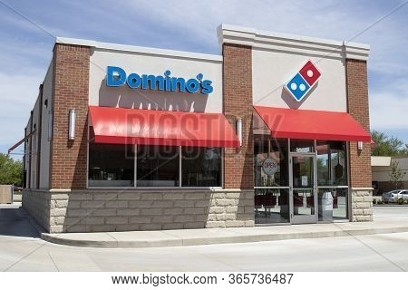 Kokomo - Circa May 2020: Dominos Pizza Restaurant. Amid Social Distancing Rules, Dominos Is Offering