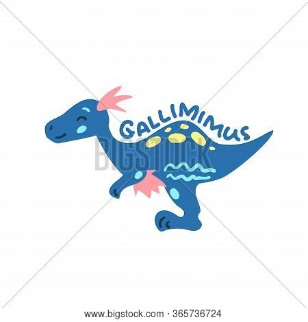 Cartoon Dinosaur Gallimimus. Cute Dino Character Isolated. Playful Dinosaur Vector Illustration On W