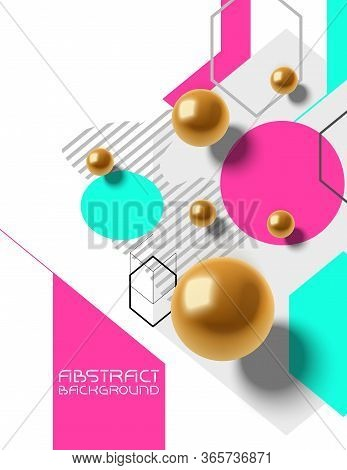 Abstract Chaotic Vector Background With Geometry Primitives, Golden Spheres, Trendy Design Backgroun