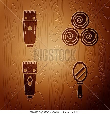 Set Hand Mirror, Electrical Hair Clipper Or Shaver, Electrical Hair Clipper Or Shaver And Towel Roll