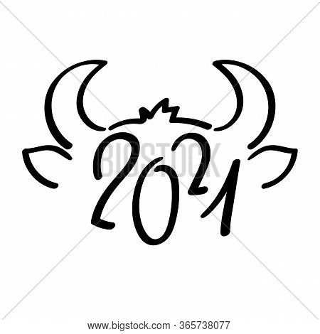 2021 Year Of Ox Black Vector Symbol On White Background. 2021 Lunar Year Animal Head And Horns. Chin