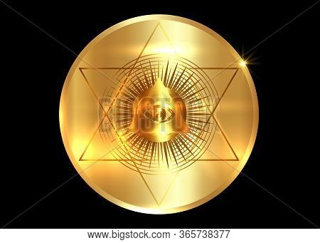 Sacred Masonic Symbol. All Seeing Eye, The Third Eye (the Eye Of Providence)  Inside Triangle Pyrami