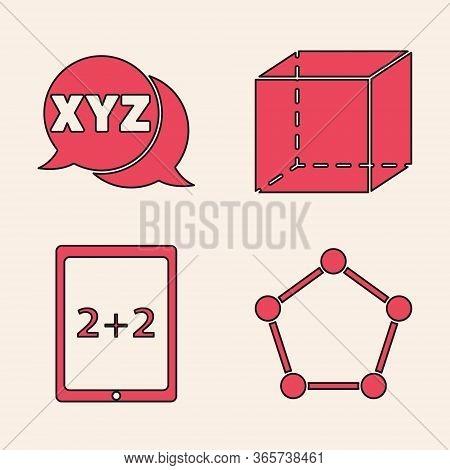 Set Geometric Figure Pentagonal Prism, Xyz Coordinate System, Geometric Figure Cube And Tablet With