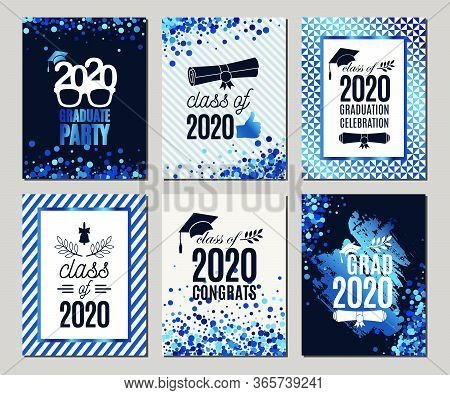 Graduation Class Of 2020 Blue Glitter Greeting Cards Set Of Six. Vector Party Invitations. Grad Post