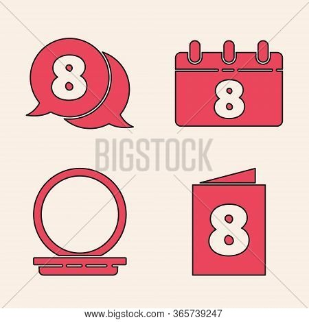 Set Greeting Card With 8 March, 8 March In Speech Bubble, Calendar With 8 March And Makeup Powder Wi