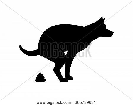 Poop Dog Silhouette. Dog Pooping Vector Sign For Warning Symbol, Black Dogs Poo Pictogram Isolated O