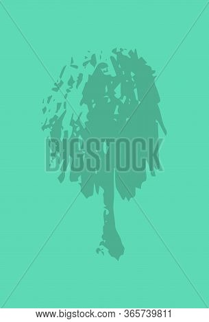 Blank Postcard With Handdrawn Tree Silhouette. Foliage Tree Stamp Or Watermark On Vertical Card. Ear