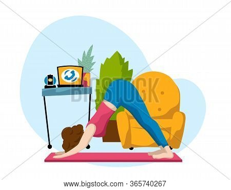 Woman Making Yoga Near Work Place At Home. Work At Home Vector Illustration On White Background. Hom