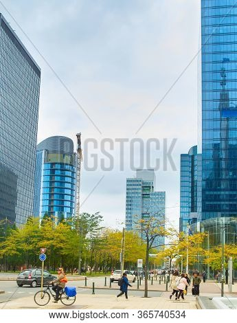 Brussels, Belgium - October 04, 2019: Crowd Of People Walking By Downtown - Financial And Business D