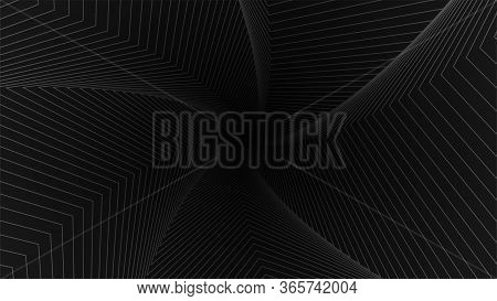 Op Art Background. Optical Abstract Background. Gray Lines On A Black Background. Vector Illustratio