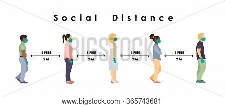 Social Distance. Full Length Sick People In Medical Masks And Gloves Standing In Line Against At A S