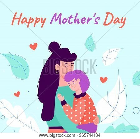 Mothers Day Greeting Card With Woman Embracing Baby Cartoon Vector Illustration.