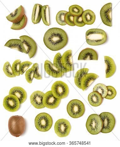 Kiwi isolated on white background. Flat lay, top view. Set of different composition of kiwi slices.