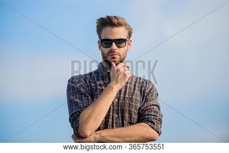 Guy Wear Casual Outfit. Macho Man Unshaven Face. Male Fashion Style. Looking Very Trendy. Sexy Man S