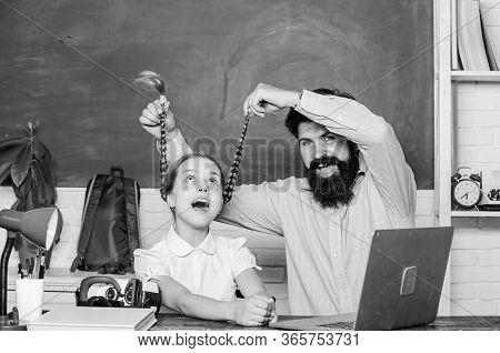 Homeschooling With Father. Find Buddy To Help You Study. Private Lesson. Study Online. School Teache