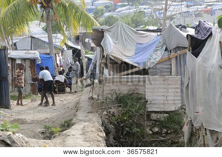 Leisure time in the tent cities in Haiti.