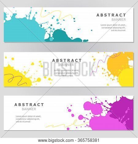 Bright Colorful Watercolor Slash Banner Collection. Vector Set Of Banners.