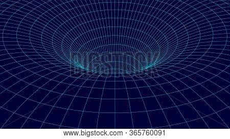Wireframe Vector Tunnel. 3d Wormhole Dark Illustration.
