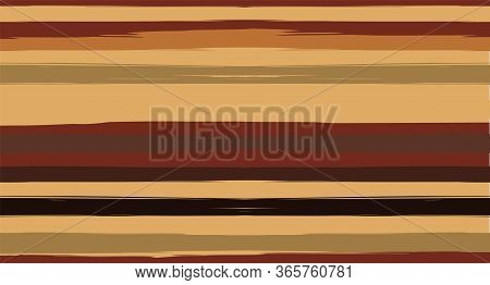 Orange, Brown Lines Seamless Summer Pattern, Vector Watercolor Sailor Stripes. Vintage Trace Grunge