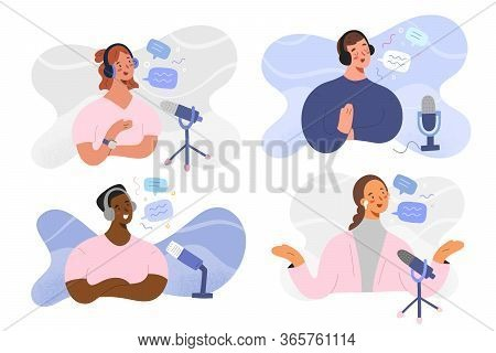 Podcast Host People, Women And Man Characters Recording Radio Program, Broadcaster At Workspace, Iso
