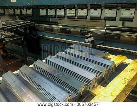 Sheet Metal Bending In Factory By Bending Mashine.