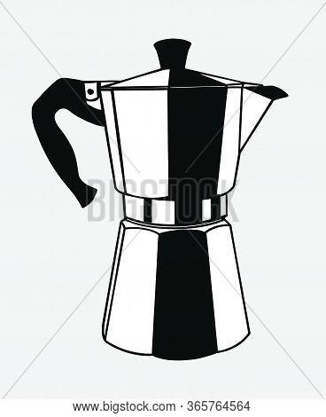 Italian Coffee Maker Or Moka Pot, Espresso Machine, Mocha Express. Hand Drawn Black And White Vector