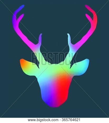 Beautiful Bright Colorful Hand Drawn Tribal Style Deer Head Silhouette. Magic Vintage Vector Illustr