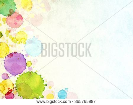 Vertical or horizontal grunge background with texture of old paper of blue and yellow colors and colorful watercolor splashes. Vintage backdrop with paint splash. Mock up template. Copy space for text