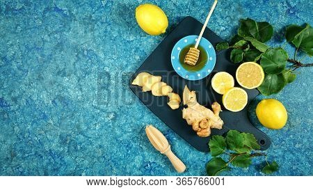 Ginger, Honey And Lemon Herbal Tea Preparation Flat Lay Creative Concept Layout.