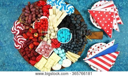 Patriotic Red, White And Blue Charcuterie Dessert Grazing Platter.