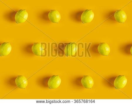 Citrus Backdrop. Juicy Ripe Lemon  Pattern On Yellow Background Top.