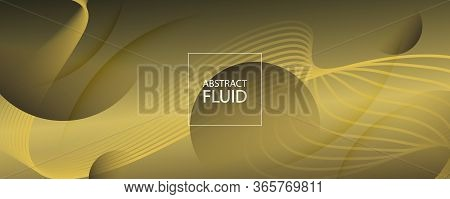 Abstract Vector Curve. Yellow Gradient Wallpaper. 3d Fluid Lines. Minimal Poster. Gold Abstract Vect