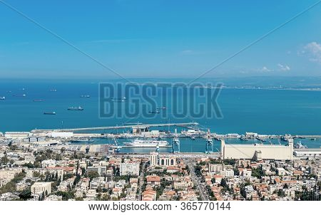 Port City With Infrastructure On A Background Of The Sea With Ships