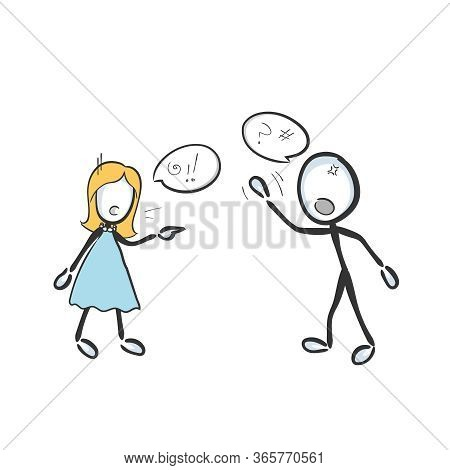 Husband And Wife Fight Shout And Argue. Parental Conflict And Divorce. Domestic Violence. Hand Drawn