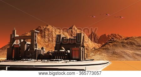 Mars Landscape 3d Illustration - Three Spacecraft Fly Near An Installation Habitat On The Red Planet