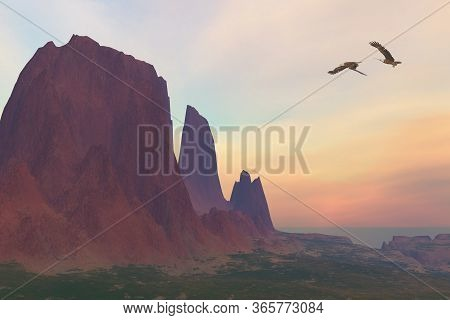 Mountain 3d Illustration - Two Bald Eagles Fly Near A Desert Mountain In The Southwest Of The United