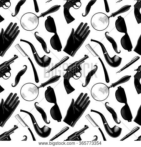 Collection of detective items, investigations Set of men's accessories on a white background. Seamless pattern. Antique color engraving of a stylized drawing.