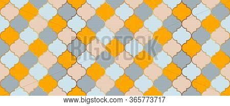 Ottoman Mosque Window Shape. Ramadan Traditional Golden Mosque Motif. Seamless Moroccan Mosaic Textu