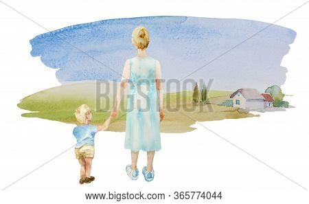 Watercolor Back View Of Mother And Her Little Son Outdoors In The Village On Beautiful Summer Day. O