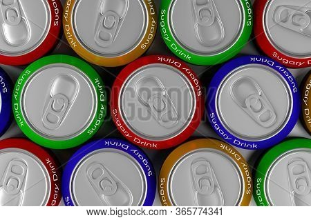 Colored Cans Of Sugary Drink, 3d Illustration