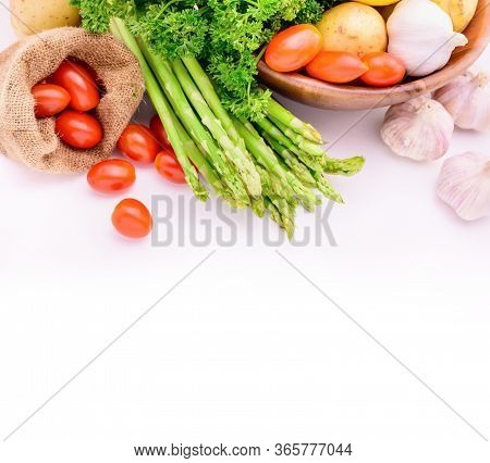 Fresh Organic Vegetables On For Cooking Salad. Isolated On White Background. Diet And Healthy Food.