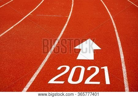 Start Line To 2021 On Running Court Represents The Beginning Of A Journey To The Destination In Busi