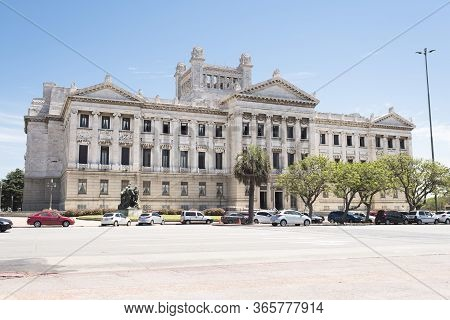 Montevideo / Uruguay, Dec 28, 2018: Exterior View Of The Legislative Palace, Seat Of The Uruguayan P
