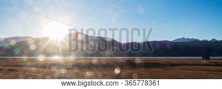 Beautiful Sunset And Meadow At Napa Lake Grassland, Located In Zhongdian City ( Shangri-la). Landmar
