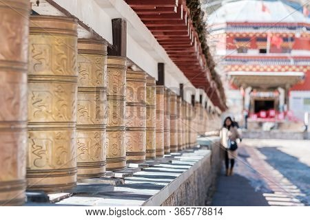 Tibetan Bell At Cable Car Base Station To Shika Snow Mountain Or Blue Moon Valley, Landmark And Popu